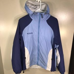 Columbia Light Blue and Dark Blue Windbreaker M